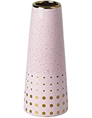 9.5'' White Gold Finish Ceramic Flower Vase Home Decor Vase and Table Centerpieces Vase - Ideal Gifts for Friends and Family, Christmas, Wedding, Bridal Shower