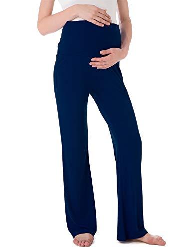 Ecavus Women's Maternity Wide/Straight Versatile Comfy Palazzo Lounge Pants Stretch Pregnancy Trousers Navy