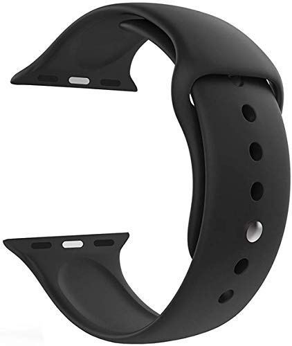 LineOn Soft Silicone Sport Strap Band for iWatch 38mm / 40mm Apple Watch Series 1/2/3/4/5 (Black)