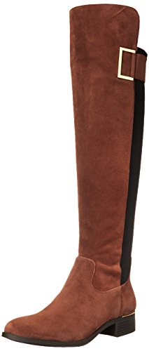 Calvin Klein Women's Cylan Motorcycle Boot, Cigar Brown/Black, 8 M US by Calvin Klein