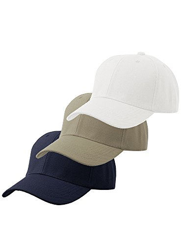 Men's Plain Baseball Cap Velcro Adjustable Curved Visor Hat-3P Navy Khaki White (Navy Adjustable Visor)