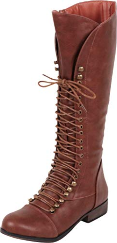 Cambridge Select Women's Lace-Up Chunky Low Heel Knee-High Combat Boot,8.5 B(M) US,Cognac PU -