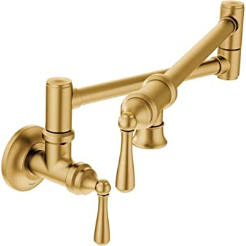Moen S664bg Traditional Pot Filler Kitchen Faucet Brushed Gold