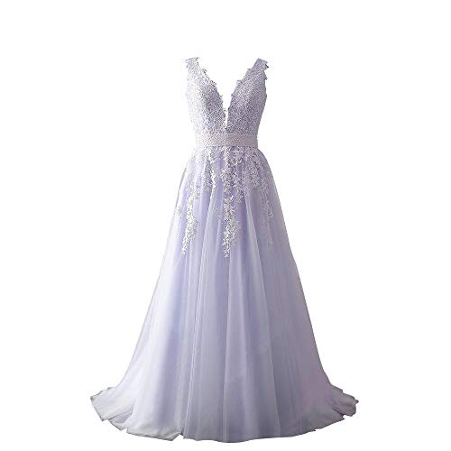 - Abaowedding Women's Wedding Dress for Bride Lace Applique Evening Dress V Neck Straps Ball Gowns Lavender US 16