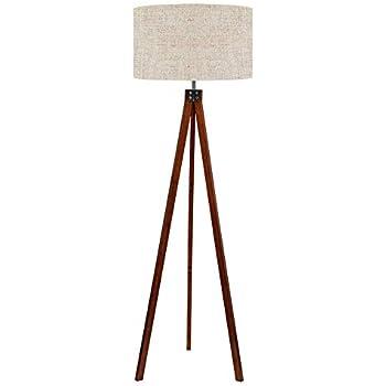 Pacific Coast Lighting 85 2148 68 Tripod 1 Light Floor Lamp Walnut Finish With Beige Fabric