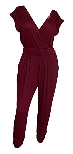 EVogues Plus Size Deep V-Neck Jumpsuit Burgundy - 1X