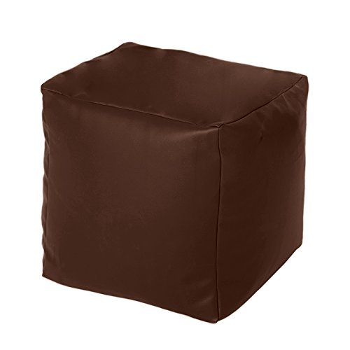 Hippo Brown Faux Leather Bean Bag Cube Footstool Pouffe Seat
