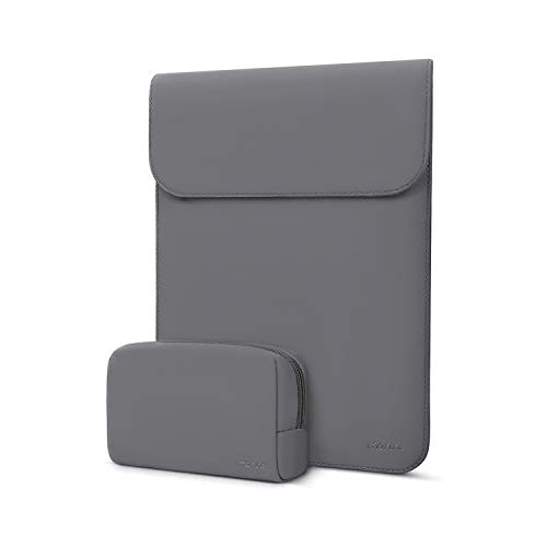 MOSISO Laptop Sleeve Compatible with 2020-2016 MacBook Pro 13 A2251/ A2289/ A2159/ A1989/ A1706/A1708/2020-2018 MacBook Air 13 A2179/A1932,Surface Pro,Faux Suede Leather Case with Small Bag,Space Gray