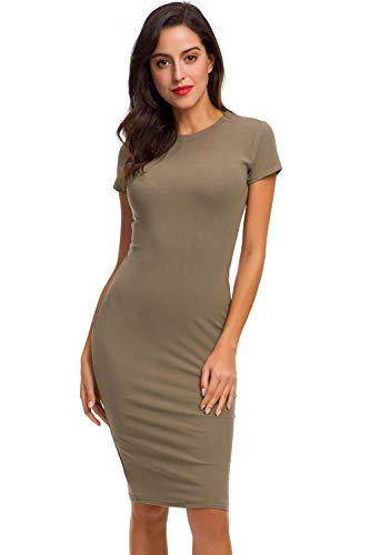 Acacia Flowers Women's Knitting Casual Short Sleeve Crew Neck Tight Midi Elegant Sheath Dress Sexy Bodycon Summer Pencil Dress Work Package Hip Dress Soft Slim Stretchy Maternity T-Shirt Spring Dress, Khaki, Medium