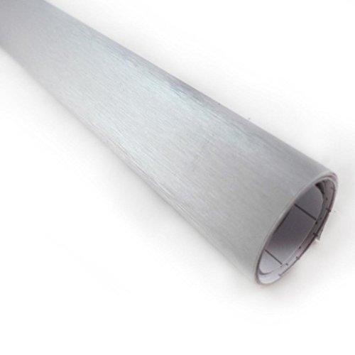 Silver Brushed Aluminum Vinyl Wrap Sticker Decal Film Sheet - 12X60