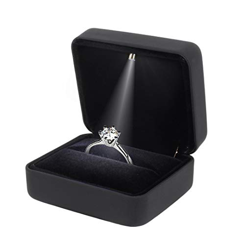 Naimo Rubber Engagement Ring LED Light Jewelry Gift Box ()