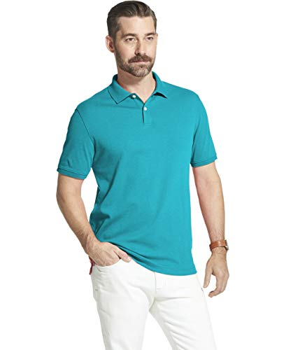 (Arrow 1851 Men's Cool Cotton Short Sleeve Heather Polo Shirt, Blue Atoll, Small)