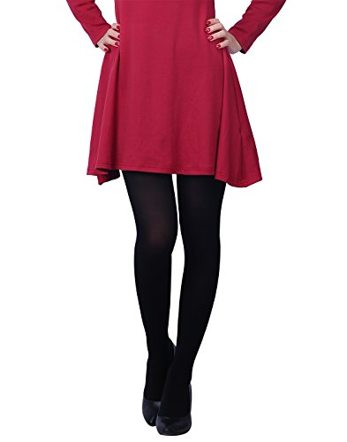 HDE Womens Solid Candy Color Opaque Microfiber Footed Tights Stockings,XS-M,Black]()