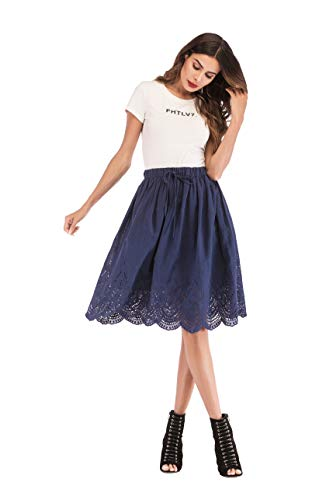 (Love Welove Fashion Women's A-line Flared Embroidered Below Knee Length with Lining midi Skirt (M, A Solid Navy))