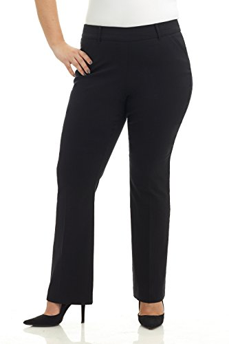 (Rekucci Curvy Woman Ease in to Comfort Fit Barely Bootcut Plus Size Pant (22W,Black))