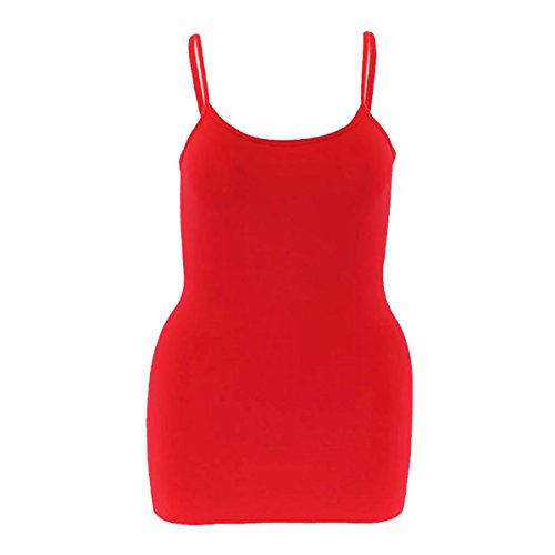 Spandex Spaghetti (GreeNice Women's Spaghetti Strap Camisole Sleeveless Tank Tops - Assorted Colors (One Size, Red))