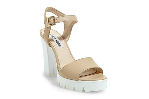 Leather Travis Women's Sandals Beige Natural Steve Madden 1Yx6vv