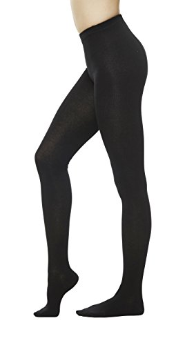 t Sweater Cotton Stirrup Footless Footed tights (S/M, Black) ()