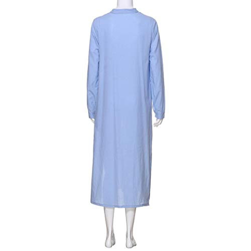 Shirt Casaul Cotton Womens Long Dress Plain Kaftan Maxi Oversized Falda Long Blue NREALY Sleeve qPSZt0xw