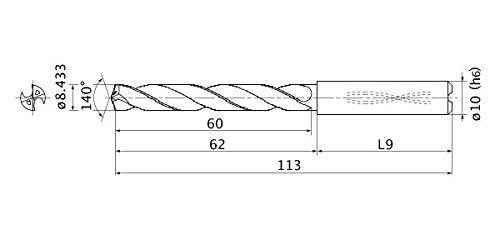 10 mm Shank Dia. 5 Hole Depth Mitsubishi Materials MMS0843X5D100 Series MMS Solid Carbide Drill 1.5 mm Point Length 8.433 mm Cutting Dia Internal Coolant