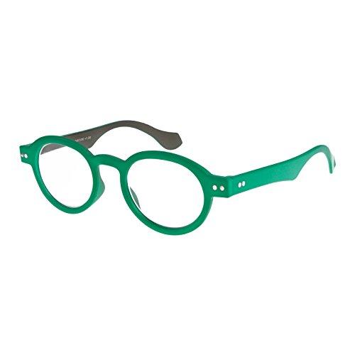 I NEED YOU Round Eyeglass Green/Grey Frame Doktor Reading Glasses Prescription Eyeglasses For Men & Women Spring Hinge High-Quality Plastic Eyeglasses With Strength - Grey Frames Eyeglass Plastic