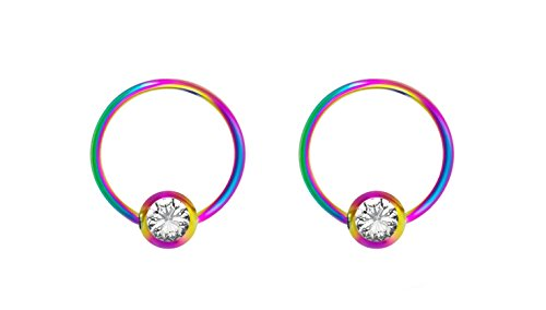 (Forbidden Body Jewelry Pair 18g 8mm Rainbow Surgical Steel Clear CZ Gemmed Captive Bead Body Piercing Hoops, 3mm Balls )