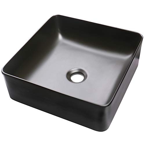 Mount Basin Wall China Vanity - Enbol EA1515 Black Ceramic Porcelain Square Bathroom Vessel Sink Above Counter Countertop Bowl Sink Basin for Lavatory Vanity Cabinet