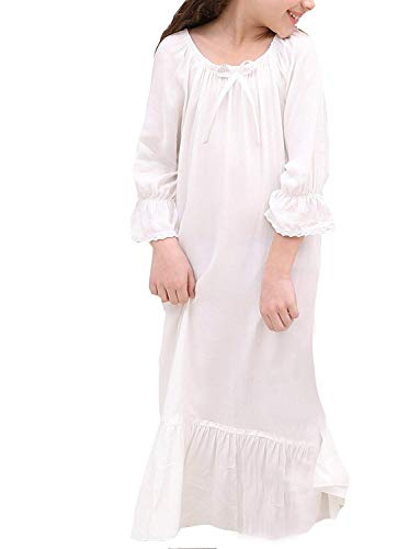 ROLECOS Toddler Girls Princess Nightgowns 3/4 Sleeves Sleepwear Nightdress 5-6T Cream ()