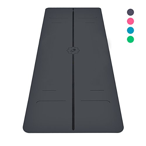 Liforme Evolve Yoga Mat - The World's Best Eco-Friendly, Non Slip Yoga Mat with The Original Unique Alignment Marker System. Biodegradable Mat Made with Natural Rubber & A Warrior-Like Grip (Grey)