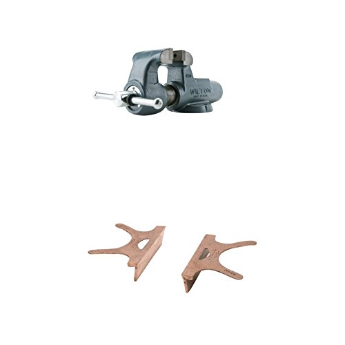 Wilton 10066 350N, Machinists-Feet Bench Vises-Stationary base with 404-3.5, Copper Jaw Caps, 3-1/2