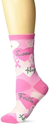 - K. Bell Women's Pink Ribbon Crew Socks), Shoe Size: 4-10