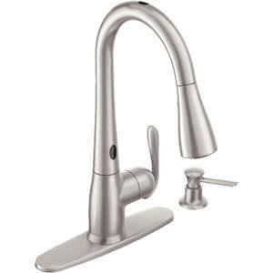 Moen 87350ESRS One-Handle High Arc Pulldown Kitchen Faucet, Spot Resist  Stainless