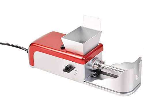 GOFLAME Electric Cigarette Rolling Machine Mini Cigarette Injector Automatic Machine Tobacco Roller Maker, Siver and Red
