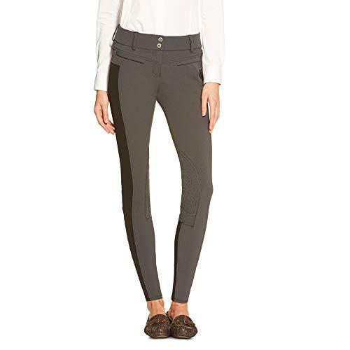 (ARIAT Women's Triumph Low Rise Knee Patch Front Zip Knee Patch Breech Charcoal Size 30)