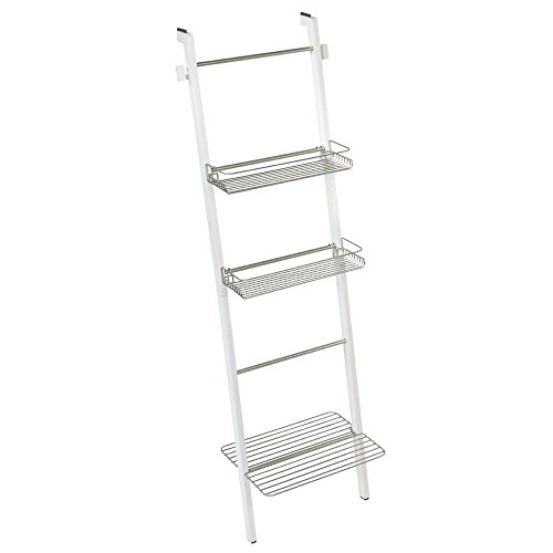 InterDesign 75311 Formbu Free Standing Bathroom Storage Ladder with Shelves for Towels, Soap, Candles, Tissues, Lotion, Accessories - White/Satin (Luxury Box Ladder)