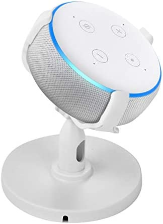 SH-RuiDu 360-degree Rotation Table Holder Adjustable Stand Bracket for Echo Dot3 White