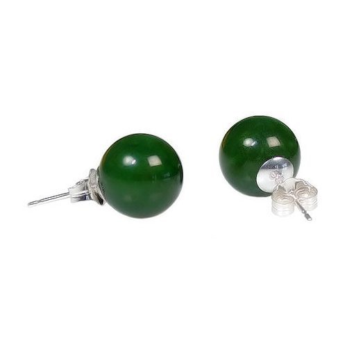 Trustmark 925 Sterling Silver 10mm Natural Nephrite Green Jade Ball Stud Post Earrings by 1000 Jewels