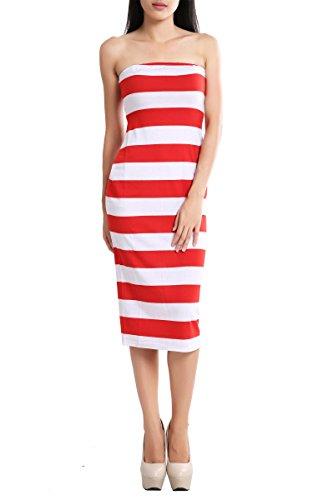 Sexy RED&WHITE STRIPED TUBE Dress Strapless Bodycon Short Midi Dress New S - XL