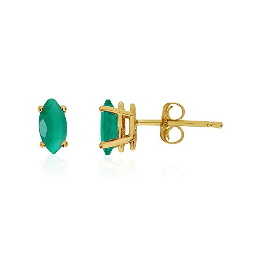 14k Yellow Gold Studs Genuine Green Birthstone Emerald Marquise Earrings (0.3 - Earings Yellow Emerald Gold