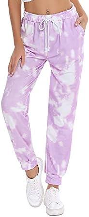 Hawiton Women's Tie Dye Pajama Pants with Drawstring Lounge PJ Bottoms Pu