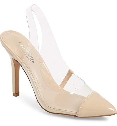 CHARLES DAVID Charles Madalyn Clear Slingback Strap Stiletto Heel Pumps (8.5, Clear) ()