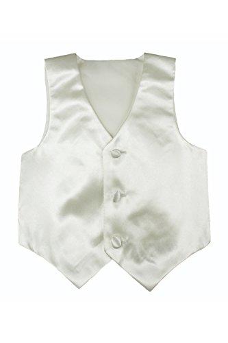 Baby Toddler Kids Little Boys Formal 23 Color Satin Vest S-7 (3T, Ivory)