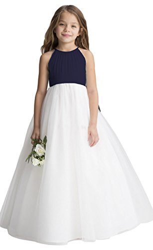 fairy Girl Flower Girl Dress Tulle Chiffon Junior Bridesmaid Dresses for Wedding Party Pageant Aline Navy
