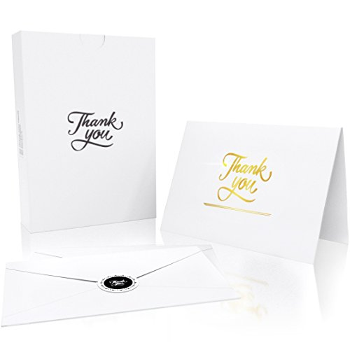 Luxury Thank You Cards with 20 Envelopes and 20 Stickers - Gold Foil Embossed Letters - Perfect Greeting Card for Baby Shower, Wedding, Business or (Gold Embossed Envelope)