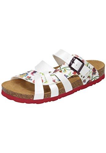 Dr. Brinkmann Damen Pantoletten - Weiß/Rot Schuhe in Übergrößen Weiß