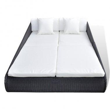 Para cama de matrimonio de tumbona en color negro - Diseño moderno fabricado en mimbre con