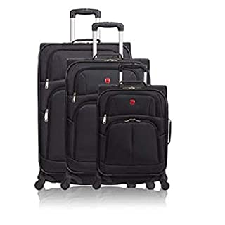 SWISSGEAR 7208 Expandable Liteweight Durable 3pc Spinner Luggage Set Black