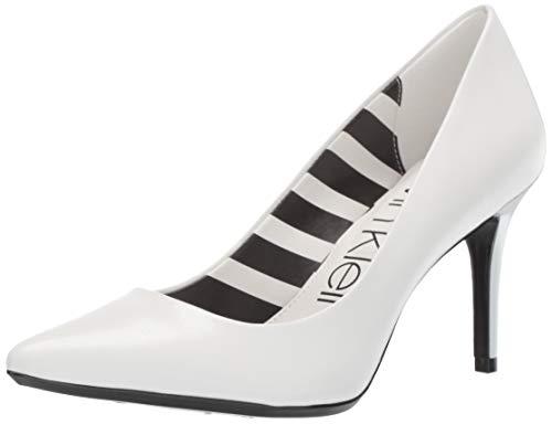 Shoes Leather Skin - Calvin Klein Women's Gayle Pump White Kid Skin/Stripes 8 M US
