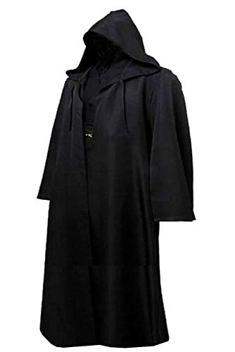(Men TUNIC Hooded Robe Cloak Knight Fancy Cool Cosplay Costume Black,XL )