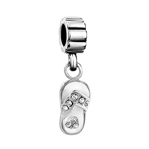 Q&Locket White Enamel Sandals Flip Flop Charm Dangle Bead With Clear Crystal For Bracelet (Birthstone Flip Flop Charm)